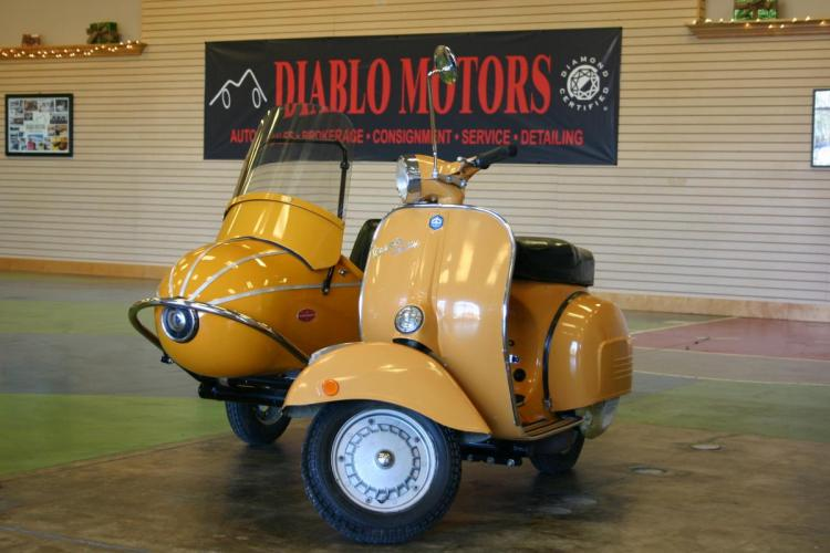 1970 Yellow /Black Piaggio Vespa Rally 180 (VSD1T009532) with an 180 cc engine, 4 Speed Manual transmission, located at 2067 San Ramon Valley Blvd., San Ramon, CA, 94583, (925) 830-8747, 37.738945, -121.952454 - Photo #0