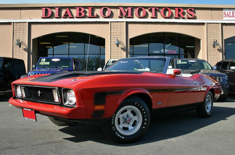 1973 Ford Mustang Convertible, 351 V8, automatic, red, barn find, only 3500 miles!
