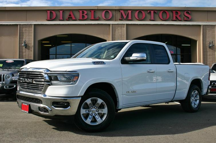 2020 White /Black Leather RAM 1500 Laramie Quad Cab 4WD (1C6SRFDT5LN) with an 5.7 Liter V8 HEMI engine, Automatic with Overdrive transmission, located at 2067 San Ramon Valley Blvd., San Ramon, CA, 94583, (925) 830-8747, 37.738945, -121.952454 - Photo #0