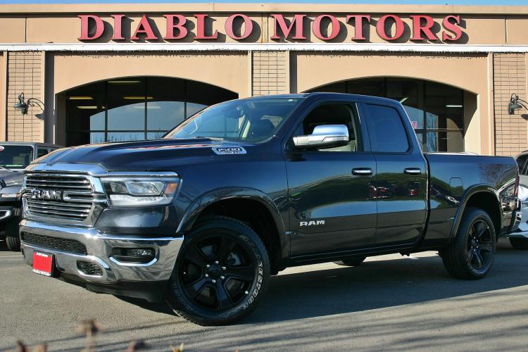 2020 Gray /Black Leather RAM 1500 Laramie Quad Cab 4WD (1C6SRFDT9LN) with an 3.6L V6 FFV engine, Automatic with Overdrive transmission, located at 2067 San Ramon Valley Blvd., San Ramon, CA, 94583, (925) 830-8747, 37.738945, -121.952454 - Photo #0